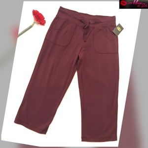 Athletic Pants - Athletic Burgundy Jersey Capris